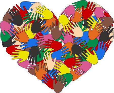 un corazón lleno de múltiples manos culturales Ilustración de vector