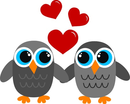 valentines day owls love Vector