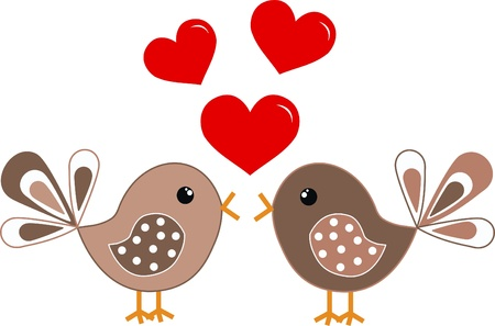cute cartoons: two cute birds in love
