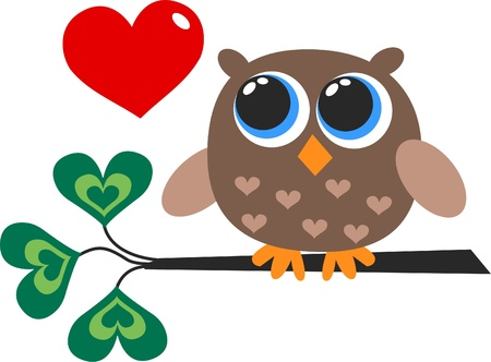 cute images: a cute little brown owl Illustration