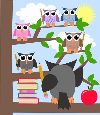 escuela infantil: búhos de la escuela de educación de aprendizaje