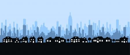 modern huis: skyline van de stad Stock Illustratie