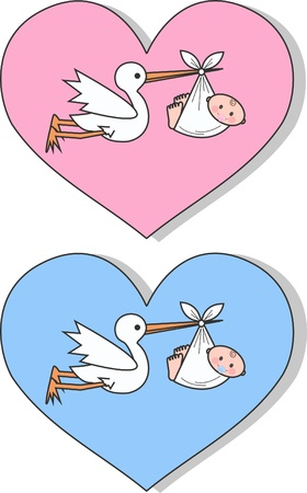 newborn baby boy and baby girl Illustration