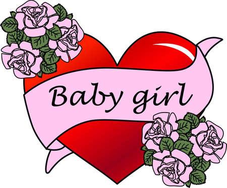 newborn baby girl Vector