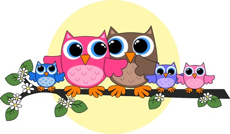 owl on branch: owl family Illustration