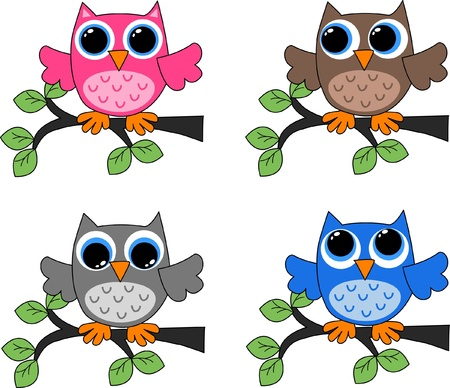 four different owls  Stock Vector - 12582478