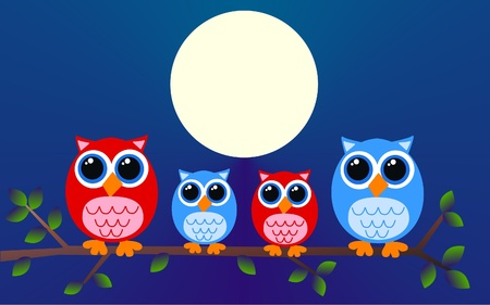 wise woman: owl family Illustration