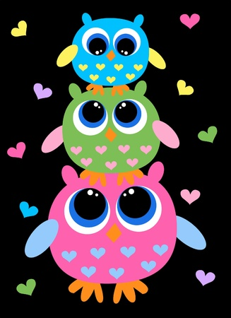 cute cartoons: three cute owls