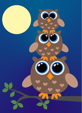 three brown owls  Vector