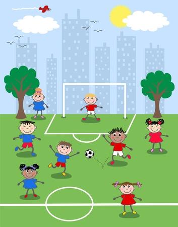 ni�os jugando parque: jugar al f�tbol