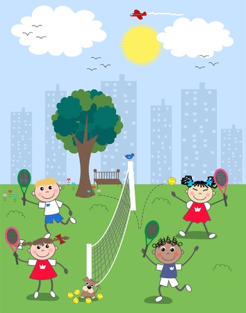 playing tennis Vector