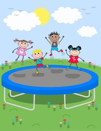 trampoline: mixed ethnic children