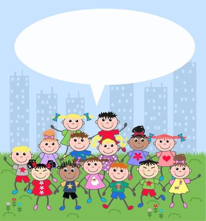 royalty free illustrations: mixed ethnic children