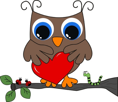 a brown owl with a big heart Illustration