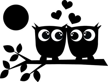 owl on branch: two owls in love Illustration