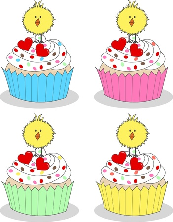 happy easter cupcakes Illustration