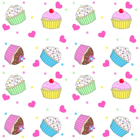 seamless cupcake pattern Stock Vector - 12970950