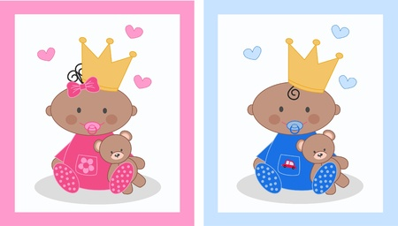 baby boy and baby girl Stock Vector - 12970956