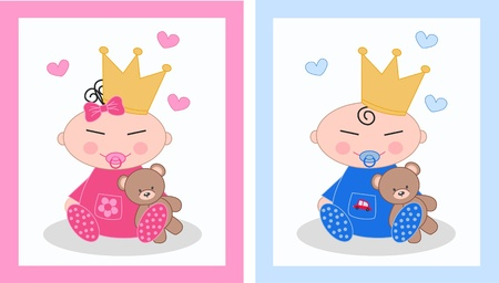 baby boy and baby girl Stock Vector - 12970954