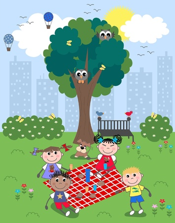 mixed ethnic children picnic Vector