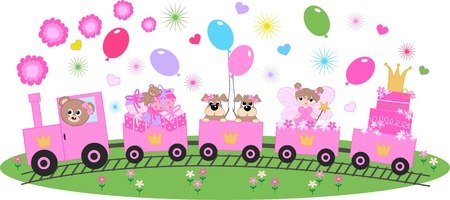 cute cartoons: happy birthday celebration or invitation Illustration