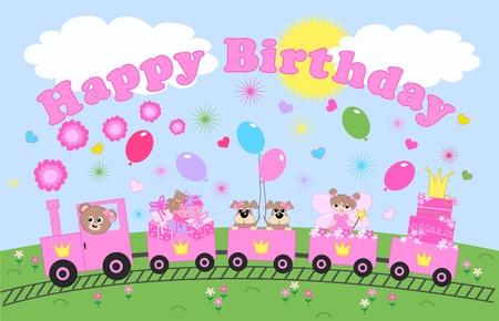 happy birthday celebration or invitation Illustration
