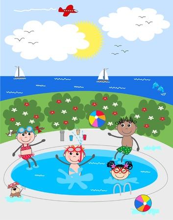 бассейн: смешанные этнические дети веселятся в бассейне Иллюстрация
