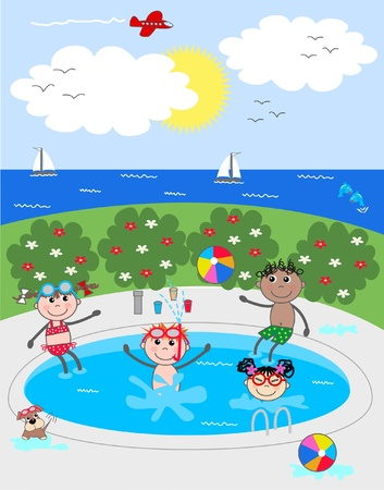 mixed ethnic children having fun in the pool Vector