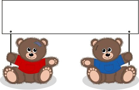 two bears with a placard