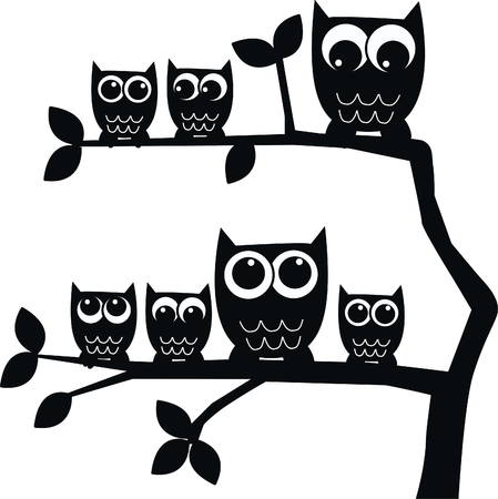 royalty free illustrations: owl family owls