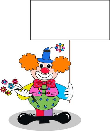stock clip art icon: a clown with a placard