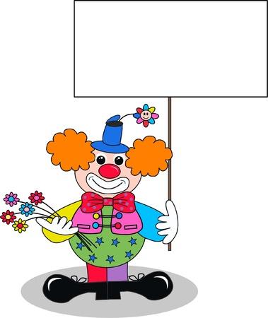 clown shoes: a clown with a placard
