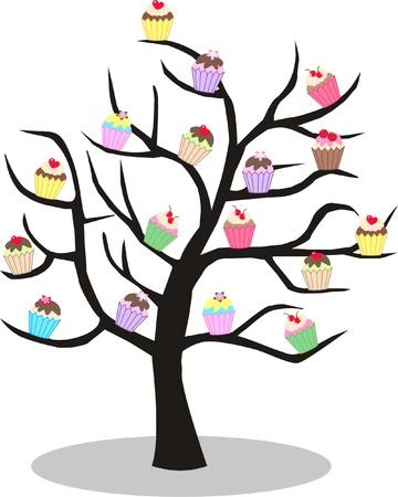 cupcake tree Vector