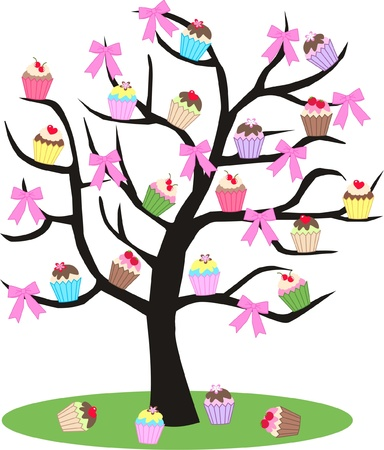 stock art: cupcake tree