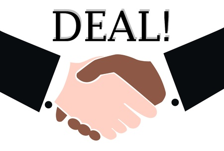 men shaking hands: deal done Illustration