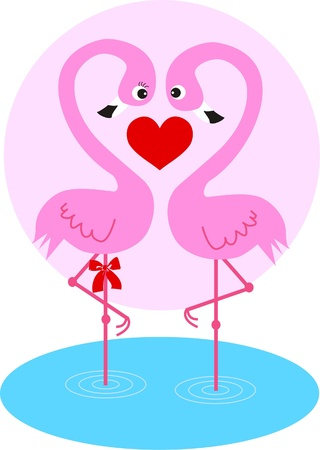 pink flamingo: two flamingos in love Illustration