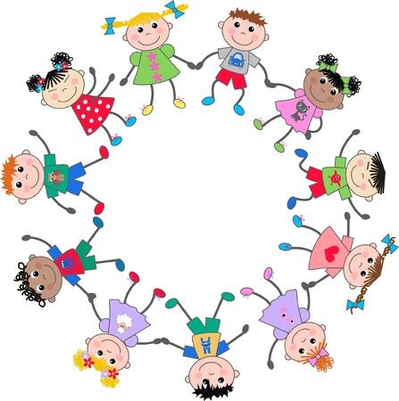 иллюстрировать: смешанные этнические дети Иллюстрация