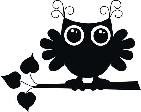 birdie: un nero gufo Vettoriali