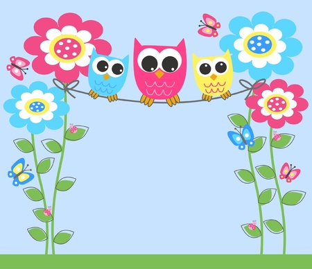 colorful owls Stock Vector - 13539385