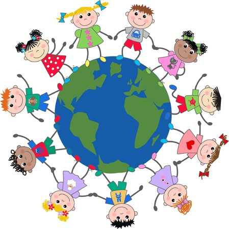 mixed ethnic children around the planet Vector