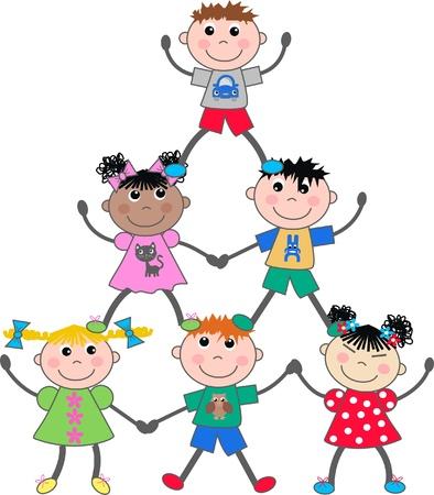 enfants qui jouent: mixtes enfants des groupes ethniques Illustration
