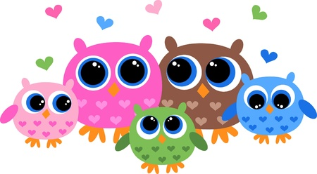 royalty free illustrations: a sweet owl family