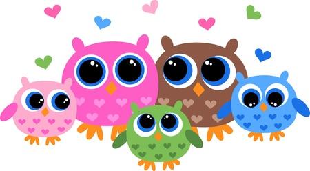 sowa: słodki rodzina sowa