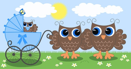 owl family newborn baby Stock Vector - 13578329