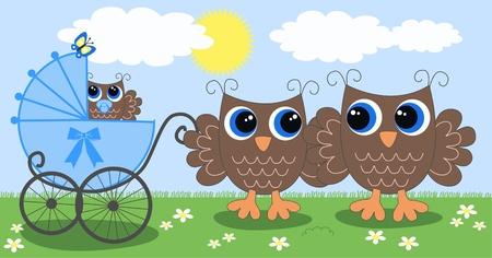 owl family newborn baby Illustration