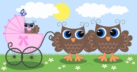 owl family: owl family newborn baby Illustration