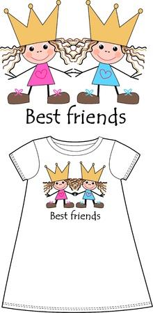 entre filles: meilleurs amis Illustration