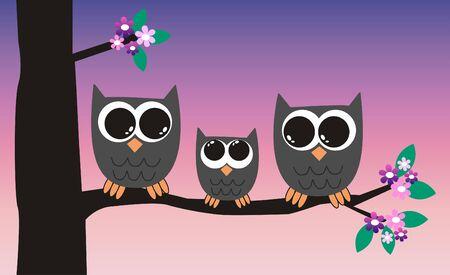 a cute little owl family Vector