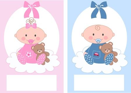 bautismo: El anuncio bebé recién nacido, chico, chica Vectores