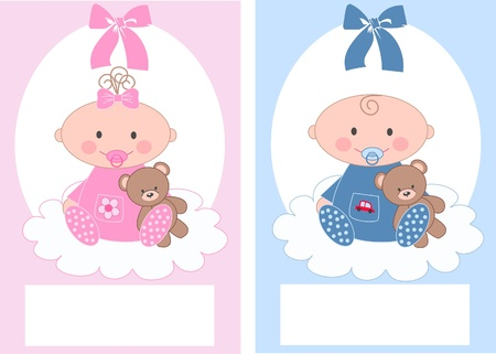 royalty free illustrations: newborn baby announcement boy girl